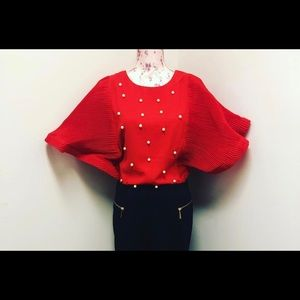Red Blouse with Pearls